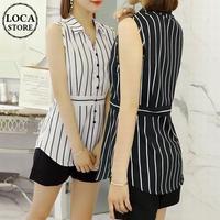 レディース ノースリーブ ストライプ ブラウス シャツ ウエストマーク ガーリー 大人可愛い 韓国ファッション (DCT-570408880609)