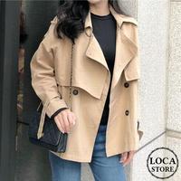 レディース ショート丈 コート トレンチコート ジャケット フェミニン 韓国ファッション オルチャン (DCT-580519448514_K)
