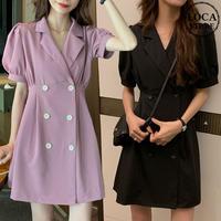 ジャケット風 ワンピース Aライン 韓国ファッション レディース ダブルボタン 半袖 ハイウエスト DTC-618226482217