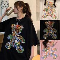 Tシャツ くまちゃん 花 刺繍 半袖 オーバーサイズ 韓国ファッション レディース トップス ベアー 大きめ カジュアル ストリートファッション DTC-643234188804