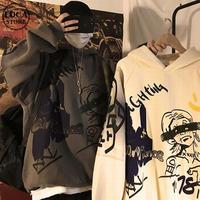 ユニセックス パーカー プルオーバー 裏起毛 韓国ファッション メンズ レディース 落書き ペイント プリント オーバーサイズ ストリート (DTC-603225402471)
