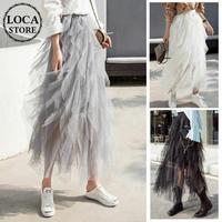 レディース プリーツ メッシュ スカート アシンメトリー チュールスカート 無地 韓国ファッション (DCT-588486899235)
