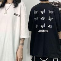 Tシャツ 半袖 メンズ レディース ユニセックス ラウンドネック バタフライ 蝶 プリント オーバーサイズ 大きいサイズ ルーズ ストリート TBN-617938603207