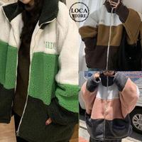 ボアブルゾン ラムウール 韓国ファッション レディース ボアジャケット ボア オーバーサイズ ゆったり ストリートファッション (DTC-606347130963)