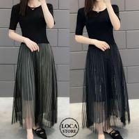 レディース ラウンドネック プリーツドッキングワンピース プリーツスカート ワンピース フェミニン 韓国ファッション (DCT-591465201552)
