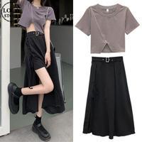 セットアップ 不規則デザイン クロップドTシャツ + スプリットスカート 韓国ファッション レディース 2点セット Tシャツ スカート ハイウエスト DTC-642828357858