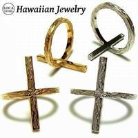 ハワイアンジュエリー リング 指輪 クロス K14イエローゴールドコーティング サージカルステンレス インスタ メンズ レディース ペア (grs8638)