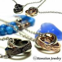 【ハワイアンジュエリー / HawaiianJewelry】 ネックレス/ネックレス プルメリア スクロール ホヌ ダブルリング 2リング (gps8724)