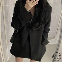 テーラードジャケット 韓国ファッション レディース ジャケット シングルブレスト ロング丈 レトロ ガーリー (DTC-602752634508_j)