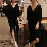 レディース Vネック ドルマンロングワンピース アシンメトリー 大きいサイズ 韓国ファッション オルチャン (DCT-566640422922)