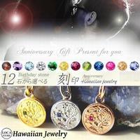 【ハワイアンジュエリー / HawaiianJewelry】 ペンダント 12石の誕生石から選べる ネックレス プルメリア スクロール ホヌ レディース メンズ ペア ※刻印可能商品 (anip01)