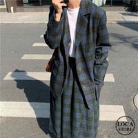 セットアップ チェック柄 テーラードジャケット + ロングスカート 韓国ファッション レディース ジャケット レトロ (DTC-606121505644)
