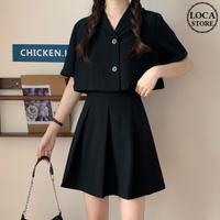 セットアップ シャツ + スカート 韓国ファッション レディース セット ジャケット ミニスカート 半袖 ハイウエスト 大人可愛い ガーリー DTC-621828760494