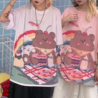 レディース 可愛いクマプリント Tシャツ ゆったり 半袖 インスタ映え ストリート 韓国ファッション オルチャン ホワイト ピンク (DCT-598301314181)