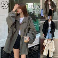 ミリタリージャケット ジップアップ ボタン ショートコート オーバーサイズ 韓国ファッション レディース アーミージャケット 長袖 ゆったり カジュアル 大人可愛い DTC-625469628156