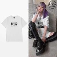 ユニセックス Tシャツ 半袖 メンズ レディース ラウンドネック プリント オーバーサイズ 大きいサイズ ルーズ ストリート TBN-623120042044