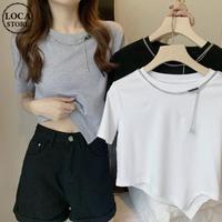 不規則デザイン クロップド丈 Tシャツ チェーンアクセサリー へそ出し 半袖 ルーズ 韓国ファッション レディース ショート丈 トップス 大人可愛い ガーリー DTC-641554527516