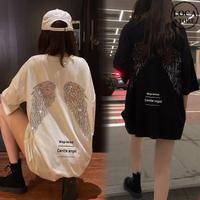 天使の羽 Tシャツ スパンコール 半袖 ラウンドネック 韓国ファッション レディース かわいい シンプル ガーリー ルーズ ストリート DTC-619325301163