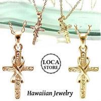 【ハワイアンジュエリー / HawaiianJewelry】 クロスネックレス スクロールモチーフデザイン イエローゴールド/ピンクゴールド (gps8959)
