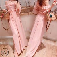 レディース フリル オフショルダー風 ウエストマーク Aライン ロング シフォンワンピース 韓国ファッション (DCT-587872878214)