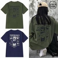 ユニセックス 半袖 Tシャツ メンズ レディース 英字 MONSTER PRETY モンスタープリント オーバーサイズ 大きいサイズ ルーズ ストリート TBN-597309572032