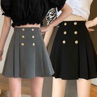 ボタン付き プリーツスカート ハイウエスト Aライン 韓国ファッション レディース スカート Aラインスカート ショートスカート 大人可愛い ガーリー DTC-639718565288