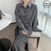 ショート丈 チェック柄 シャツ 韓国ファッション レディース ミニ丈 チェックシャツ 大人可愛い ガーリー DTC-599884938632_sh