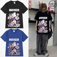 ユニセックス 半袖 Tシャツ メンズ レディース BOXER 水銀 クマちゃん ベアー プリント オーバーサイズ 大きいサイズ ルーズ ストリート TBN-616468335330