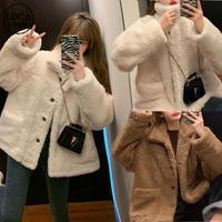ボアジャケット もこもこ ルーズ ラムウール 防寒 シングルブレスト 韓国ファッション レディース ボアブルゾン ボア 長袖 ゆったり 大人可愛い ガーリー DTC-628190676818