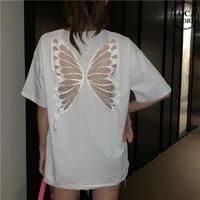 Tシャツ 半袖 シースルー バタフライ ホワイト 韓国ファッション レディース トップス ラウンドネック かわいい セクシー カジュアル シンプル ガーリー DTC-620791626349_wt