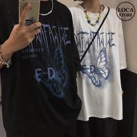 ユニセックス Tシャツ 半袖 メンズ レディース ラウンドネック バタフライ 蝶 プリント オーバーサイズ 大きいサイズ ルーズ ストリート TBN-612871044641