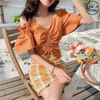 ブラウス ギャザー ショルダーストラップ フリル 韓国ファッション レディース トップス 半袖 ゆったり 無地 大人可愛い ガーリー DTC-620593213242_bs