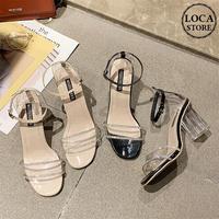 サンダル クリアヒール クリアストラップ ヒール7cm 韓国ファッション レディース サンダル クリア キュート 痛くない かわいい 靴 歩きやすい 59530339128