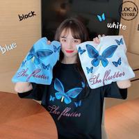 Tシャツ 半袖 韓国ファッション レディース レディースファッション 蝶 バタフライ オーバーサイズ ゆったり 大きめ ストリート DTC-616679627248