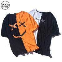 【2カラー】ユニセックス メンズ/レディース Tシャツ セパレート バイカラー スマイル ニコちゃん ストリート 韓国ファッション (DCT-588684955734)