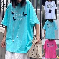 バタフライ Tシャツ 半袖 ルーズ 韓国ファッション レディース トップス ゆったり 大きめ カジュアル ストリートファッション DTC-619610882691