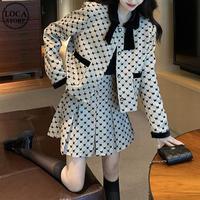 セットアップ チェック柄 ショートジャケット プリーツスカート シングルブレスト 長袖 韓国ファッション レディース 2点セット 大人可愛い ガーリー フェミニン DTC-656353247473