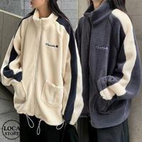 ボアブルゾン アウター 韓国ファッション レディース フリース もこもこ あったか フロントジッパー ファスナー 長袖 ゆったり シンプル レトロ ガーリー (DTC-604853811164)