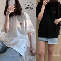レディース Tシャツ ワンポイント ビックTシャツ プリント シンプル 大きいサイズ ホワイト ブラック 韓国ファッション (DTC-591605629184)