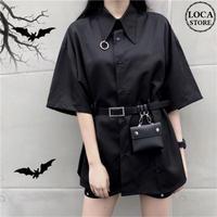 シャツ ブラウス 半袖 ベルト付き ミニバッグ付き 韓国ファッション レディース 黒 ブラック ポシェット チュニック DTC-594419657503