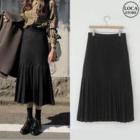 レディース 裾プリーツ ロングスカート ブラック プリーツスカート 無地 ミモレ丈 韓国ファッション オルチャン (DCT-582318938939)
