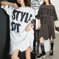 レディース サイドスリット ロングTシャツ ワンピース 大きいサイズ ロング丈Tシャツ Tシャツワンピース トップス 韓国ファッション オルチャン (DCT-564150591468)