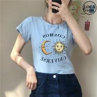 Tシャツ 半袖 袖切りっぱなし ショート丈 月と太陽 ブルー 韓国ファッション レディース 青 ガーリー DTC-614247121002_bl