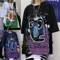 ユニセックス Tシャツ 半袖 メンズ レディース ラウンドネック 落書き風 グラフィティ プリント オーバーサイズ 大きいサイズ ルーズ ストリート TBN-612912418267
