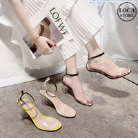 サンダル クリアヒール クリアストラップ ヒール7cm 韓国ファッション レディース サンダル クリア キュート 痛くない かわいい 靴 歩きやすい 613814252470