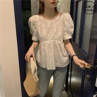 ブラウス パフ袖 半袖 韓国ファッション レディース トップス 透け感 ゆったり ラウンドネック カットソー 大人可愛い ガーリー DTC-623785023447