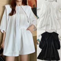 プリーツ シャツ ブラウス 大きい襟 5分袖 韓国ファッション レディース トップス ゆったり カットソー 大人可愛い ガーリー DTC-623336930706