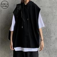 フェイクレイヤード フードベスト & Tシャツ 半袖 ストリートファッション カジュアル 韓国ファッション レディース パーカーベスト ストリート系 DTC-617309764616