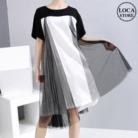ドッキングワンピース Tシャツ レース 韓国ファッション レディース ワンピース ゆったりウエスト ハイウエスト 大人カジュアル 大人可愛い 622439917503