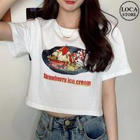 Tシャツ 半袖 ショート丈 ホワイト ストロベリーケーキ プリント 韓国ファッション レディース トップス かわいい カジュアル シンプル ガーリー DTC-621069135531_wt